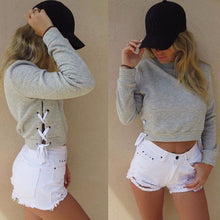 Load image into Gallery viewer, Women Sexy Slit Lacing Pullover Jumper Hoody Solid Long Sleeve Crop Top Blouse Sweatshirt Ropa Mujer