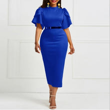Load image into Gallery viewer, women office dress ladies yellow dress working girl ruffle zipper plus size evening summer bodycon midi dress