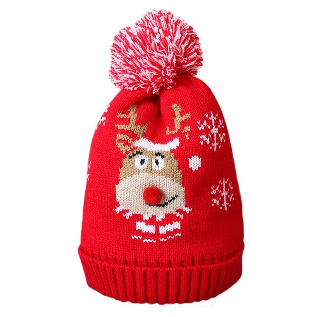 Christmas Cartoon Animal Knitted Hat Children Thick Warm Winter Hats Slouchy Sport Snow Caps For Christmas Gift