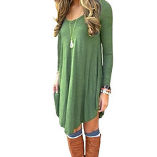 Load image into Gallery viewer, Women's Long Sleeve Casual Loose T-Shirt Dress