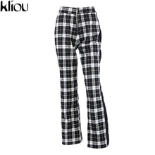 Load image into Gallery viewer, Plaid Pants Women Casual High Waist Skinny Long straight OL Office Lady Elastic Trousers Slim Cotton Work Pants