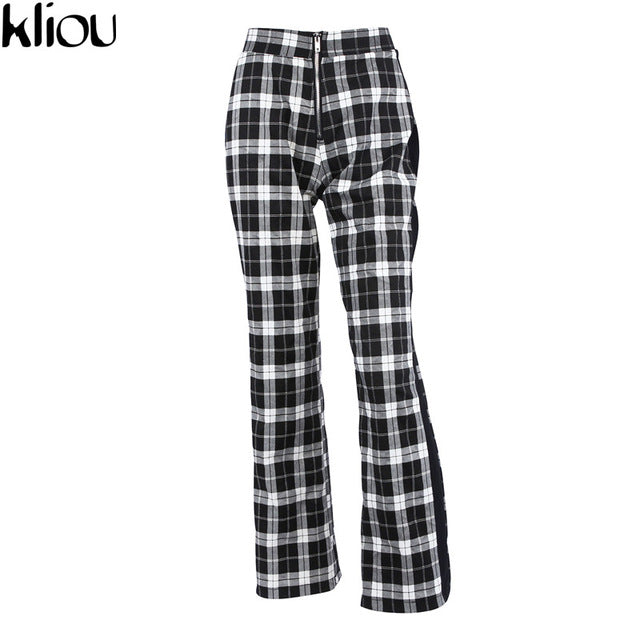 Plaid Pants Women Casual High Waist Skinny Long straight OL Office Lady Elastic Trousers Slim Cotton Work Pants