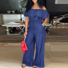 Load image into Gallery viewer, Denim Rompers Womens Jumpsuit Off Shoulder Ruffles Playsuit Plus Size Wide Leg Pants Summer Overalls