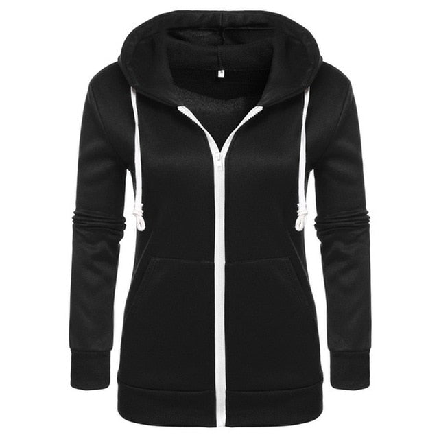 Women's Classic Hoodies Jackets Spring Autumn Zipper Hoody Sweatshirts Jacket Solid Slim Fit Hoodie