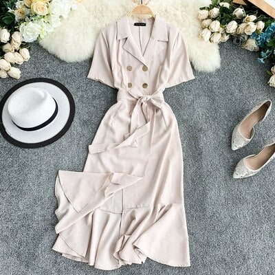 Notched Double Breasted Dress Elegant Ruffles Black Beige Women Dress Casual Business Verano Vestidos