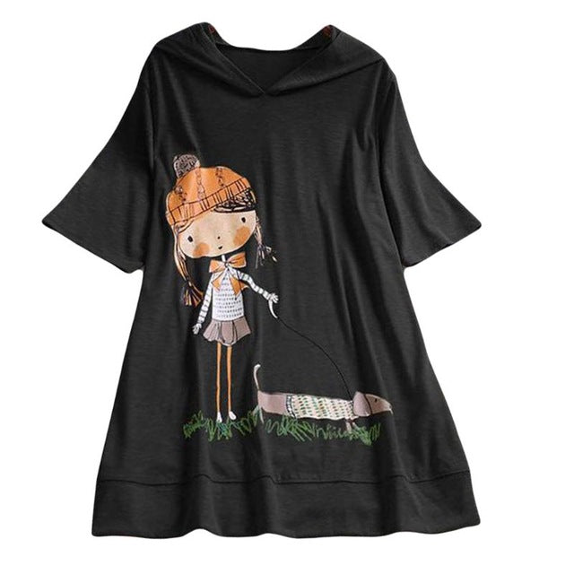 Plus Size Summer Women Hoodie Korean Cute Cartoon Print Absorb Sweat Breathable Cotton Tops O Neck Short Sleeve Hoodies 6 Color