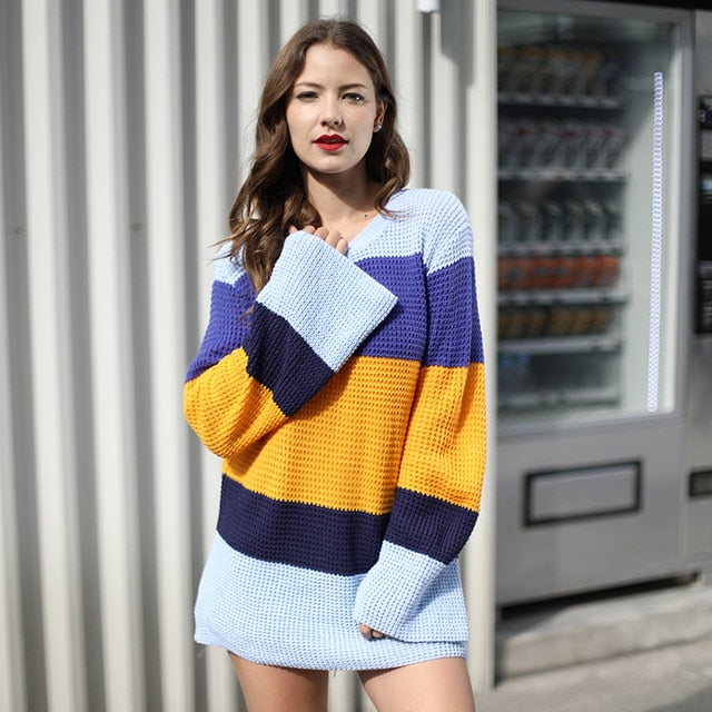Autumn Winter Women Sweaters Knitted Rainbow Color Patchwork Loose Pullovers Long Flare Sleeve Round Neck Sweater
