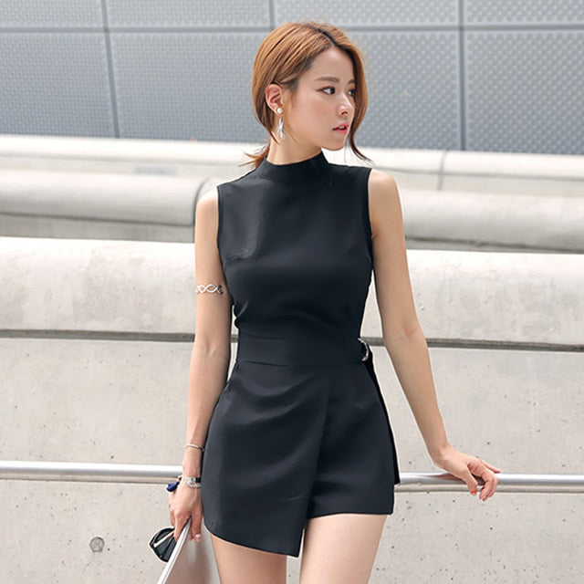 Belted Slim Playsuits Women Short Jumpsuit Stand Collar Sleeveless Irregular Lap Sexy Romper