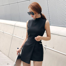Load image into Gallery viewer, Belted Slim Playsuits Women Short Jumpsuit Stand Collar Sleeveless Irregular Lap Sexy Romper