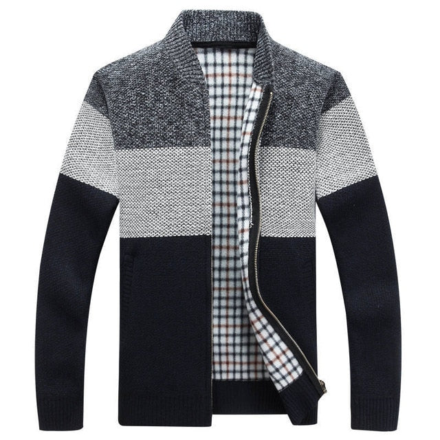 Winter Men's Jackets Thick Cardigan Coats Mens Brand Clothing Autumn Gradient knitted Zipper Coat