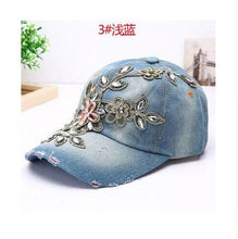 Load image into Gallery viewer, Women's Baseball Cap Diamond Painting Embroidery Flower Denim Snapback Hats Jeans Woman Female Cap Cowboy Summer Sun Hat