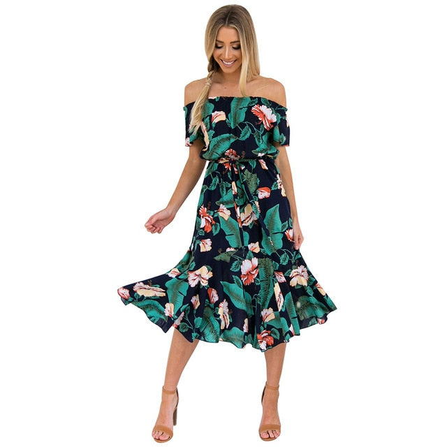 Women's Floral Printed Boho Bodycon Off Shoulder Short Sleeve Ruffle Party Beach Dresses With Belt