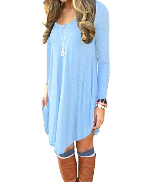 Women's Long Sleeve Casual Loose T-Shirt Dress