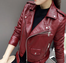 Load image into Gallery viewer, Faux Soft Leather Jacket Women Fashion Zipper Motorcycle PU Leather Jacket Ladies Basic Street Coat