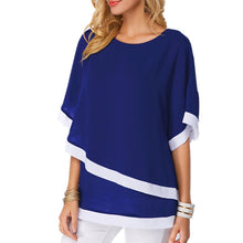 Load image into Gallery viewer, Chiffon Patchwork Irregular Blouse Shirts Casual Sexy Batwing O Neck Women Summer Blouses Tops Shirt