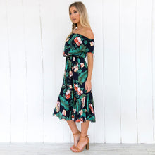 Load image into Gallery viewer, Women's Floral Printed Boho Bodycon Off Shoulder Short Sleeve Ruffle Party Beach Dresses With Belt