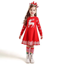 Load image into Gallery viewer, Kids Dresses For Girls Long Sleeve Deer Snowflake Print Dress New Year Costume Princess Dress Kids Christmas Clothes Vestidos