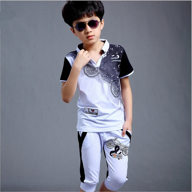 Boys Sport Suit Clothing Set Motorcycle Print Short Sleeve Knitted Children's Set Boys Clothes