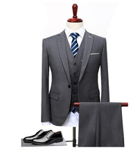 Load image into Gallery viewer, Suits Wedding Groom Plus Size 4XL 3 Pieces(Jacket+Vest+Pant) Slim Fit Casual Tuxedo Suit Male
