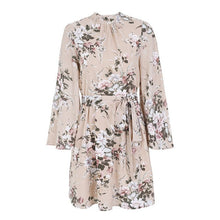 Load image into Gallery viewer, Floral print backless sexy dress women Elegant flare sleeve chiffon mini dress Summer casual beach short dress