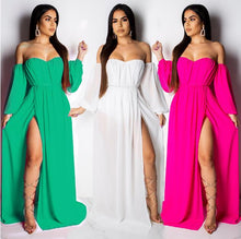 Load image into Gallery viewer, Boho Summer Maxi Dress Women Off Shoulder Long Sleeve White Chiffon Beach Dress Sexy High Split Elegant Long Party Dresses