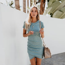 Load image into Gallery viewer, Sexy Dresses Women Summer Mini Dress Short Sleeve Solid Bodycon Slim Party Dress
