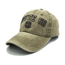 Load image into Gallery viewer, Vintage washed cotton ROUTE 66 Embroidery baseball cap hat for women men outdoor sports caps good quality Hip Hop Fitted Cap
