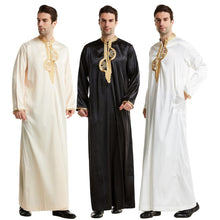 Load image into Gallery viewer, Muslim Abaya for Men Jubba Thobe Middle East Long Robes Kaftan Arab Dubai Adult Long sleeve Islamic Clothing