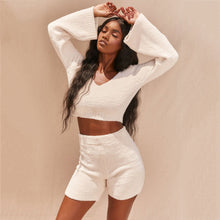 Load image into Gallery viewer, Casual Two Piece Sets Flare Sleeve Sweatshirts 2 Piece Shorts Set Sexy Fluffy Suits Lounge Set