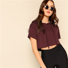 Load image into Gallery viewer, Summer Crop Top Hooded Tee Drawstring Women Tops Athleisure Tees
