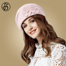 Load image into Gallery viewer, FS Vintage Black French Beret 100% Wool Hat For Women Red Pink Flower Fedora