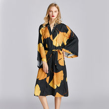 Load image into Gallery viewer, PRINT Women Satin ROBE Sexy Loose Kimono Gown Lounge Oversized Bride Bridesmaid Wedding Bathrobe Long Sleeve Intimate Lingerie