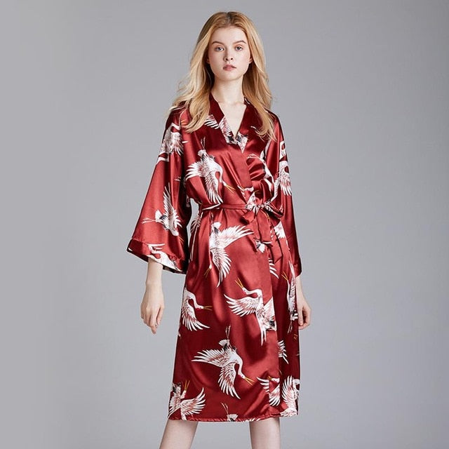 PRINT Women Satin ROBE Sexy Loose Kimono Gown Lounge Oversized Bride Bridesmaid Wedding Bathrobe Long Sleeve Intimate Lingerie