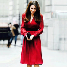 Load image into Gallery viewer, Kate Middleton Runway Fashion Workplace Casual Party Vintage Elegant Chic V-Neck Red Dress