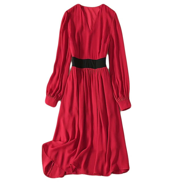 Kate Middleton Runway Fashion Workplace Casual Party Vintage Elegant Chic V-Neck Red Dress