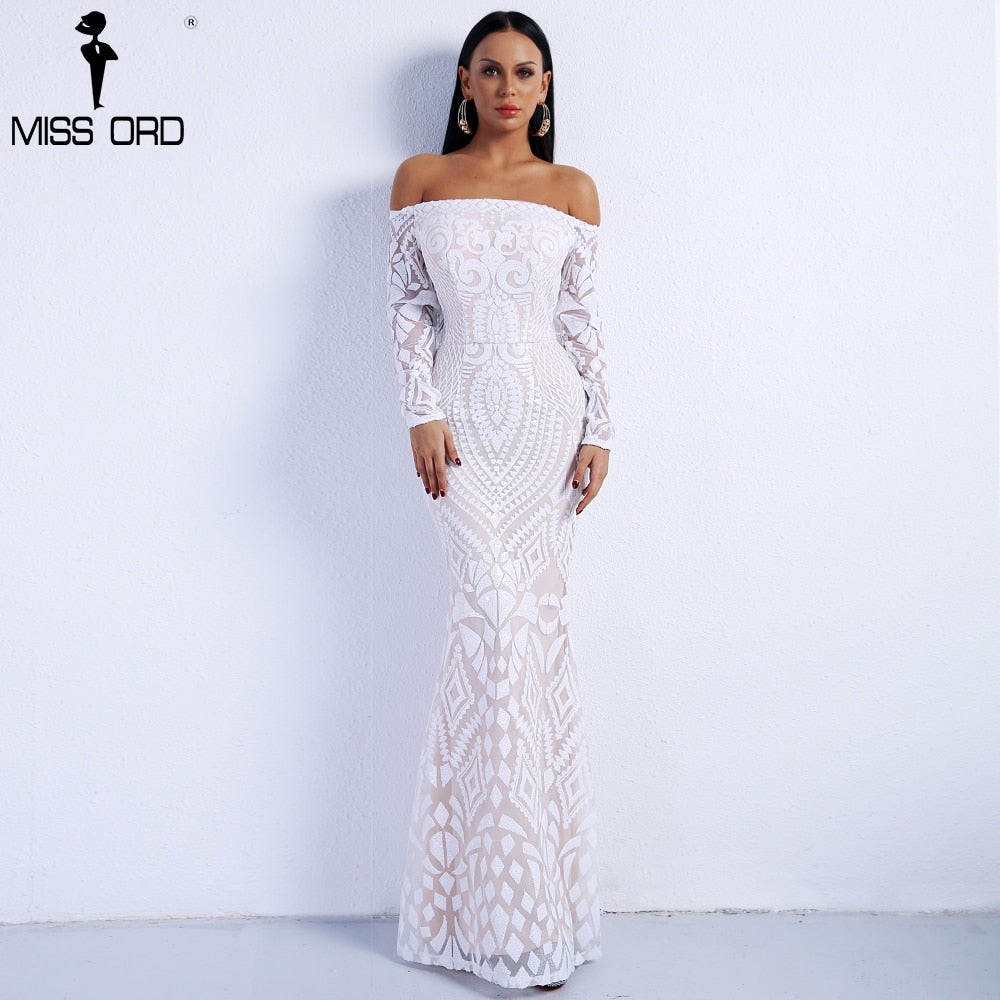 Missord Slash Neck Long Sleeve Retro Geometry Dress Sequin Maxi Party Reflective Dress