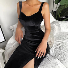 Load image into Gallery viewer, WannaThis Velvet Sleeveless Spaghetti Strap Knee-Length Bodycon Dress Sexy Split Skinny Solid Soft Backless Elegant Party Dress