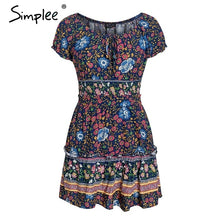 Load image into Gallery viewer, Simplee Floral print 2 pieces women summer dress Elegant ruffle off shoulder short dresses Vintage lace up beach mini sundress