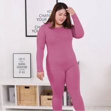 Load image into Gallery viewer, Long Sleeve Women Plus Size Thermal Long Johns Autumn Women Long Johns Solid Warm Women Thermal Underwear 3XL 4XL 5XL 90KG Wear