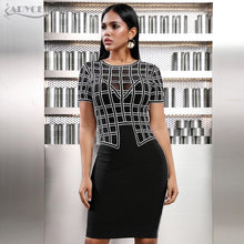 Load image into Gallery viewer, Adyce Off Shoulder Plaid Bandage Short Sleeve Lace Black Club Celebrity Evening Party Dress