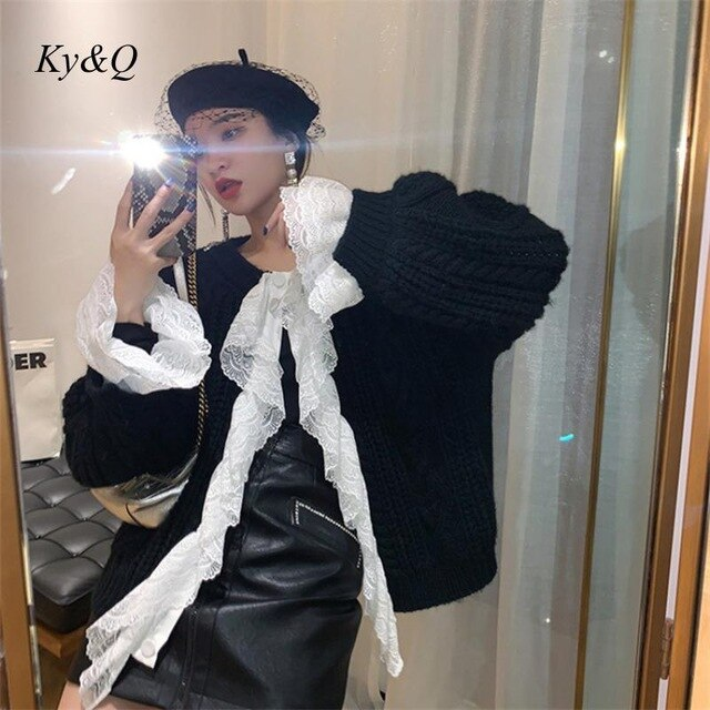 Brand Design Spring French Luxury Women Fashion Lace Patchwork Loose Knit Cardigan Sweater Single Breasted Coat Clothes