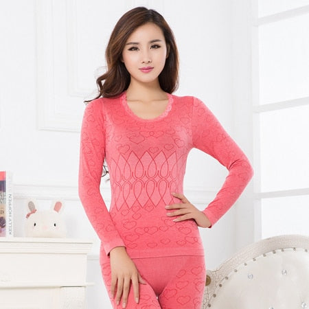 Thermal Underwear Warm Winter Print Seamless Antibacterial Intimate Ladies Clothes Print Long Johns Women Shaped Sets