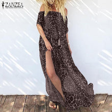 Load image into Gallery viewer, ZANZEA Leopard Print Maxi Off Shoulder Long Split Hem Chiffon Dress