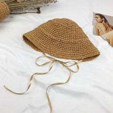 Load image into Gallery viewer, French style  Lolita  holiday beach straw paper lady leisure cap  women bucket hat