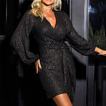 Load image into Gallery viewer, Sequin Wrap Bodycon Long Sleeve Glitter Gold Elegant Party Dress