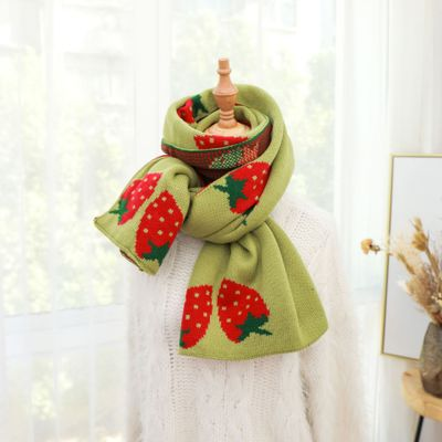Scarf long big soft outdoor warm Strawberry print outdoor shawl