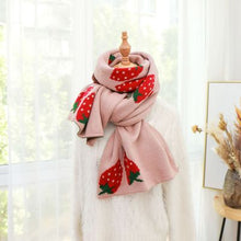 Load image into Gallery viewer, Scarf long big soft outdoor warm Strawberry print outdoor shawl