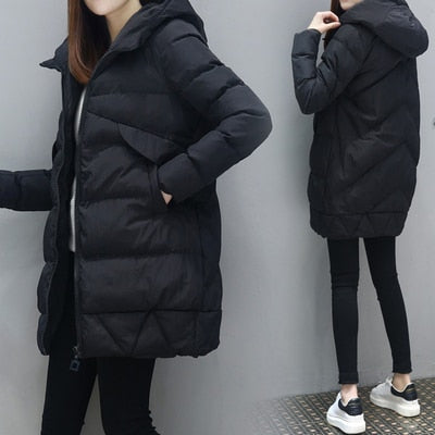 Women Fashion Long parkas winter Down Cotton Jacket Coat Lady Leisure style Jacket Pocket Hooded Warm Coats Chamarras De Mujer