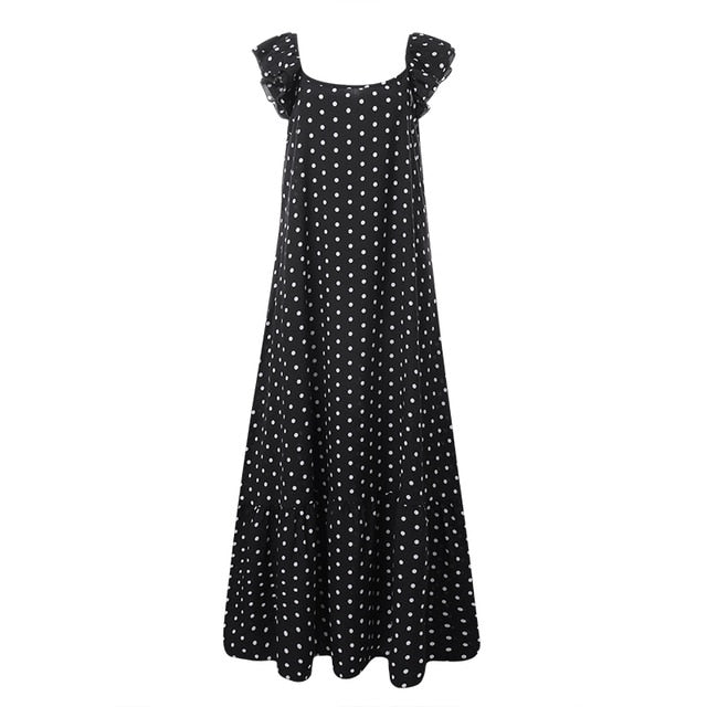 ZANZEA Stylish Ruffle Maxi Polka Dot Printed Casual Sundress