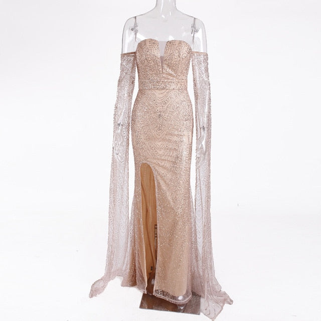 Floor Length Sleeve Celebrity Dress Hollow Out Off The Shoulder Evening Dress Split Leg Gold Glittered Boat Neck Maxi Dress